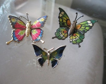 Lot of 3 Vintage Butterfly Pins / Brooches