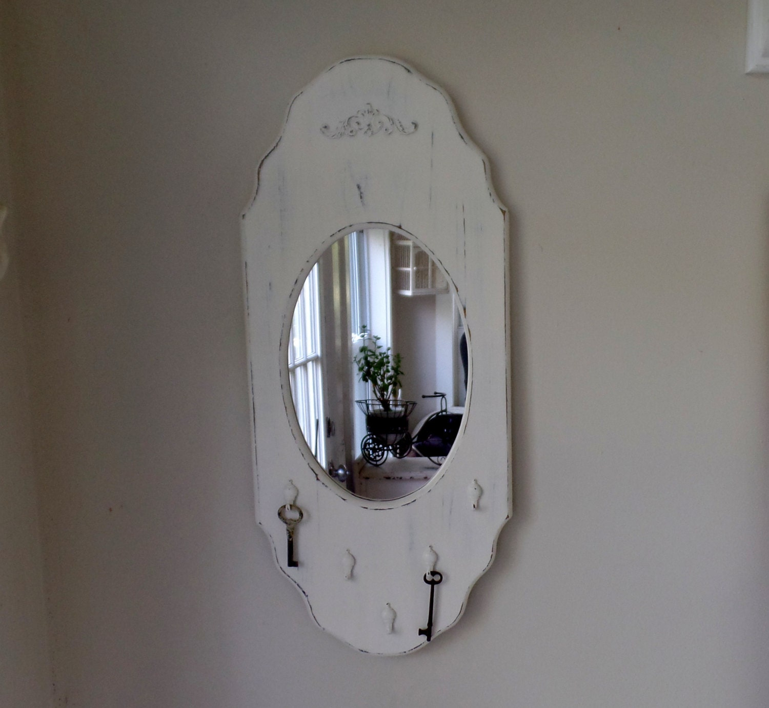 Mirror vintage wood framed wall mirror and key holder for Mirror key holder