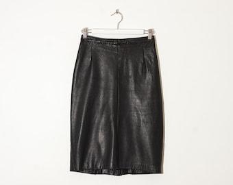 black leather knee length skirt / high waist pencil skirt / size 26