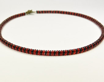 Necklace Glassbeads black red