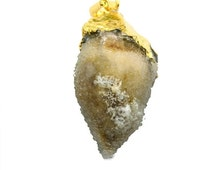 35% OFF 22k Gold Electroplated Rough Geode Fossil Druzy Pendant, 38x24mm Druzy Seashell Fossil Necklace Pendant (FP-50026)