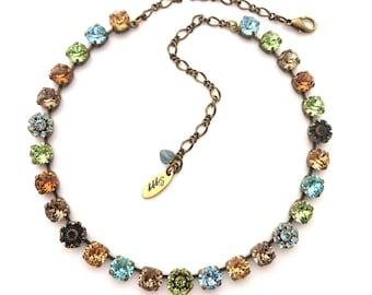 Swarovski Crystal Necklace, 8mm Peridot, Aqua, Topaz, RAIN FOREST SHIMMER,  Earth Tones, Flower Embellished, Choker, Free Shipping