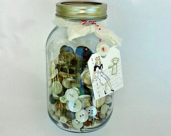Grandma's Button Jar, Button Lot, Sewing Notions