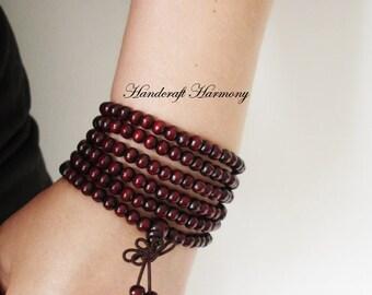 216 Mala Beads, Wood Mala, Buddhist Bracelet, Mala Bracelet, Beaded Wood Bracelet, Wood Bracelet, Buddhist Mala Bracelet, Buddhist Rosary