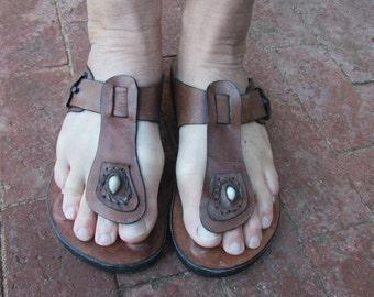 Mens Leather Sandal Handmade in Thailand Bohemian Hippie Size 12