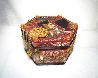 TRIBAL FABRIC Vintage Jewelry Embellished Trinket Gift Keepsake Jewelry Box