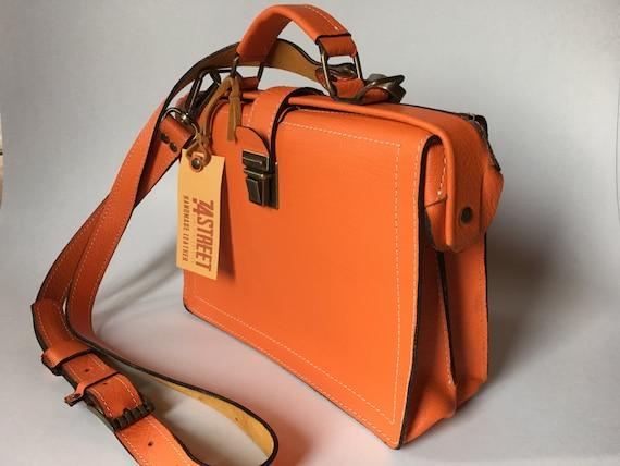 Woman Leather Briefcase, Woman Handbag, Woman Leather Bag, Orange Leather Bag, Handmade Leather briefcase, Leather Messenger Bag,