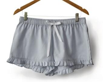 Grey Shorts -Ruffle Lounge Pants -Bridesmaid Gift -Women Lounge Pants -Sleep Shorts Night Shorts -Ladies Sleep Wear -Gift For Her -Dorm Wear