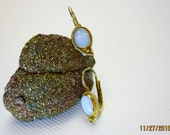 1ct. Australian White Fire Opal Earrings, Paisley Vintage Gold Washed Sterling Silver, Lever Back, 1993.