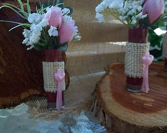 Red Shot Gun Shell Boutonniere's Pink and White Silk Flowers Set 6