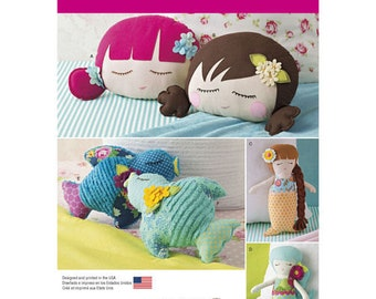 Simplicity Pattern 8067 Stuffed Doll Face Pillows, Mermaids and Birds, new Uncut sewing pattern, Stuffed Toys