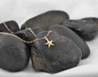 14K Gold Star Necklace, Little Star Charm, Celestial Jewelry Dainty Star Choker Tiny Gold Star, Short Gold Necklace, Bridesmaid Gift for Her