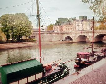 "Paris Photography - Pont Neuf photograph, Paris, pink, boats, Seine, Pont Neuf bridge, romance, home decor, Paris wall art - ""River Cruise"""