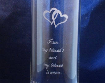 One Personalized Wedding  Glass Vase 10 x 3  Engraved with Hearts
