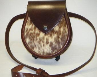 Lomond,Handmade Brown Hair on. Leather Lomond Sporran