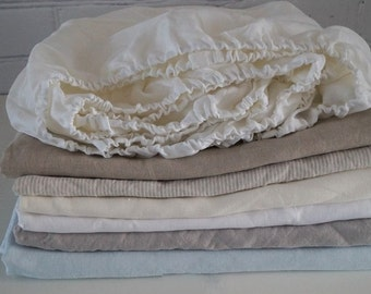Linen fitted sheet - Twin, Full, Queen, King Size  -  choose your color