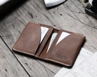 GRAMS28 / Four Pocket Leather DAY Wallet - slim wallet minimal leather wallet leather card holder, leather wallet- Brown