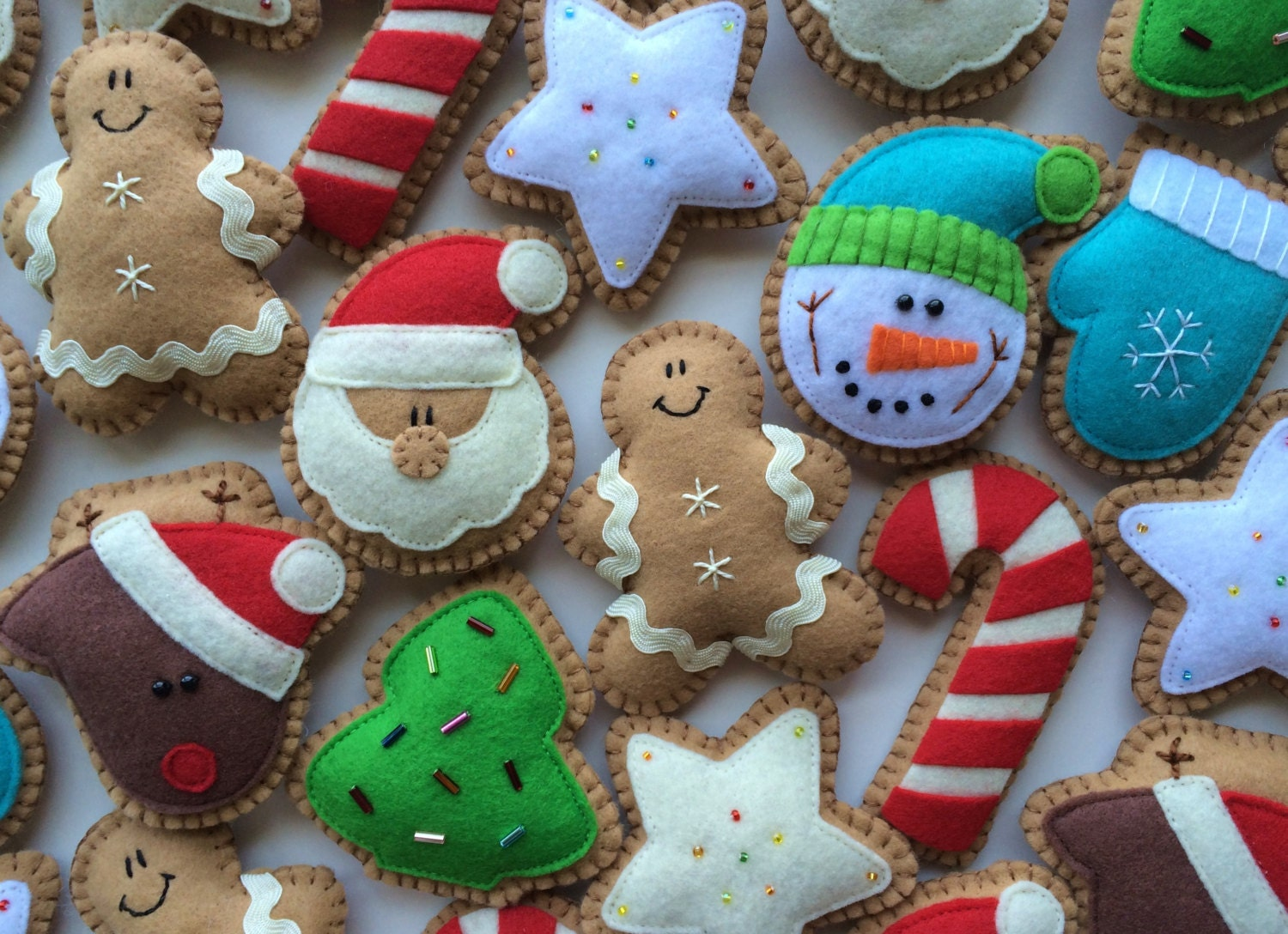 Felt Ginger Cookie Tree Ornaments-Christmas