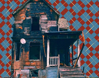 Satellite, Detroit, Street Photgraphy, Wall Art, Design, Urban Decay, Photo Montage, Abandoned Houses, City Life