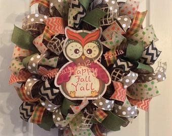 Fall Wreath/ Owl Wreath/ Fall Deco Mesh Wreath/ Thanksgiving Wreath/ Fall Door Decor