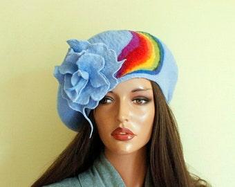 Blue beret felted Nunofelt nuno felt beret French beret Silk wool beret Rainbow beret Designer beret accessories woman