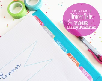 50% OFF Printable Divider Tabs for your Planner - INSTANT DOWNLOAD - multicolor, Jan to Dec, Dates, Contacts, Notes