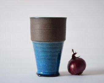 Kähler Denmark - vase - turquoise & brown - HAK - Danish mid century pottery - collectible