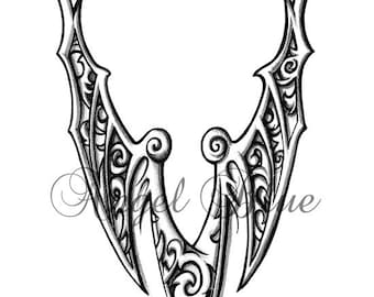Tribal wing, tattoo design, flash. instant download, no postage