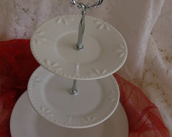 Beautiful All White Versatile Tea Stand/Cake Stand/Serving Tray, Prefect for WEDDINGS, receptions, Christmas 0r any Holiday(D247)
