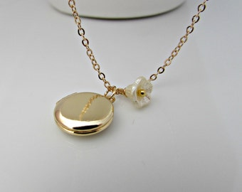Locket Necklace, Gold Locket Necklace, Small Locket Necklace, Flower Necklace, UK Seller, Girl Gifts, Bridesmaid Gifts, Bell Flower Necklace