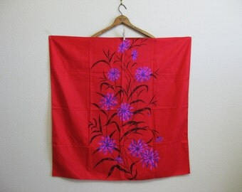 Asian Red Silk Scarf Floral Magenta 36x36 - Epic Drama