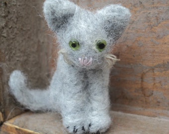 Miniature needle felted grey cat