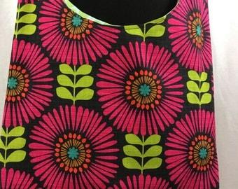 Hobo bag, magenta floral tote, cloth sling bag