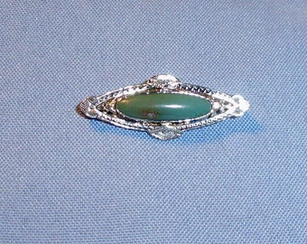 Antique Victorian Oval 14K Gold and Turquoise Stone Brooch