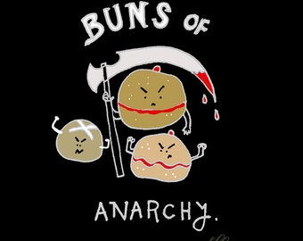 "Greeting card ""Buns of Anarchy"" carb puns"