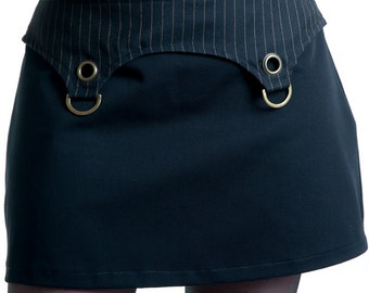 Pinstriped and black cotton mini skirt with brassy d-rings and eyelets steampunk gothic - Handmade in Italy Limited Edition