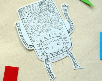 hands up! black and white illustrated sticker
