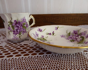 Vintage Hammersley & Co. Bone China VICTORIAN VIOLETS Orphan Teacup and Dessert Bowl Made in England