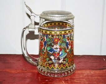 Painted German Glass Beer Stein