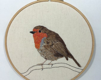 Textile art free machine embroidered, free motion embroidery, fibre art ,hoop art , Robin picture.