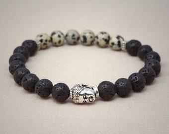 Lava rock and dalmatiner jasper wrist mala style bracelet - silver buddha head