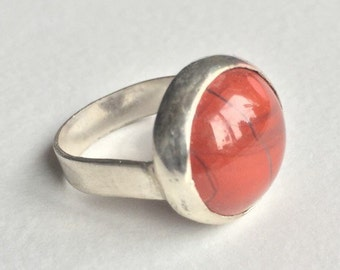 Silver and jasper ring