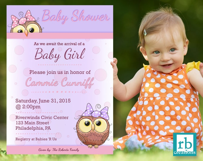 Owl Baby Shower Invitation, Baby Shower Invites, Baby Shower Invitation Girl, Baby Shower Decorations, Owl Invitation - Digital Printable