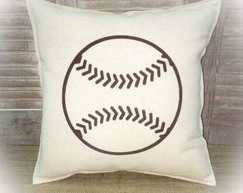Decorative Pillow with a Baseball silhouette. COMPLETE pillow. Sports decor