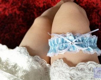 Blue Lace Satin Wedding Garter - Something Blue
