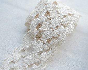 2 yards Vintage Style Cotton Lace Trim, Floral Embroidered Trim Lace , Scalloped Lace Trim