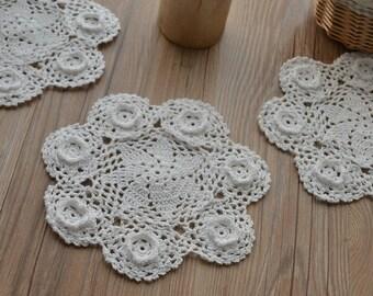 "Dozen 8"" Round Hand Crochet White Wedding Doilies Floral Cotton Coasters"