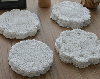 "Lot 12 Hand Crochet White Round Doilies Cotton Snowflake Pineapple Floral Wedding Coasters 8"" Sewing Appliques"