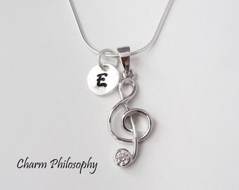 Music Note Necklace - 925 Sterling Silver Jewelry - Treble Clef Pendant - Personalized Initial - Musician Gift