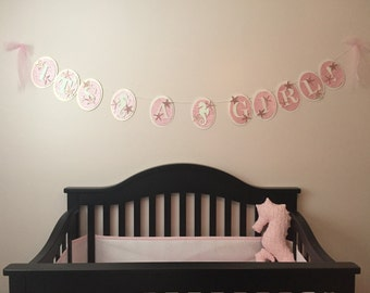 """Pink and white - ocean theme - seahorse and starfish - """"It's a Girl!"""" party celebration baby shower banner garland"""